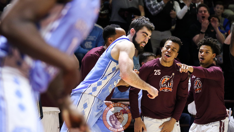 Tyrie Jackson points at UNC's Luke Maye after an open Virginia Tech three point shot hits from the corner. (Mark Umansky/TheKeyPlay.com)