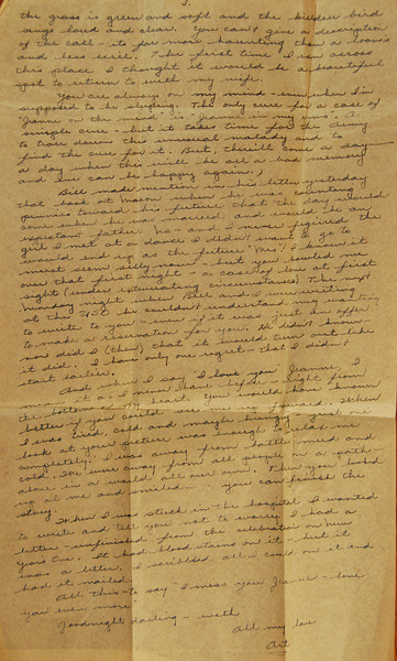 This is the third page of a love letter to Jeanne. I did not find the remaining pages. This page is remarkable prose, though. It tells you how they met and how much he truly loved her.