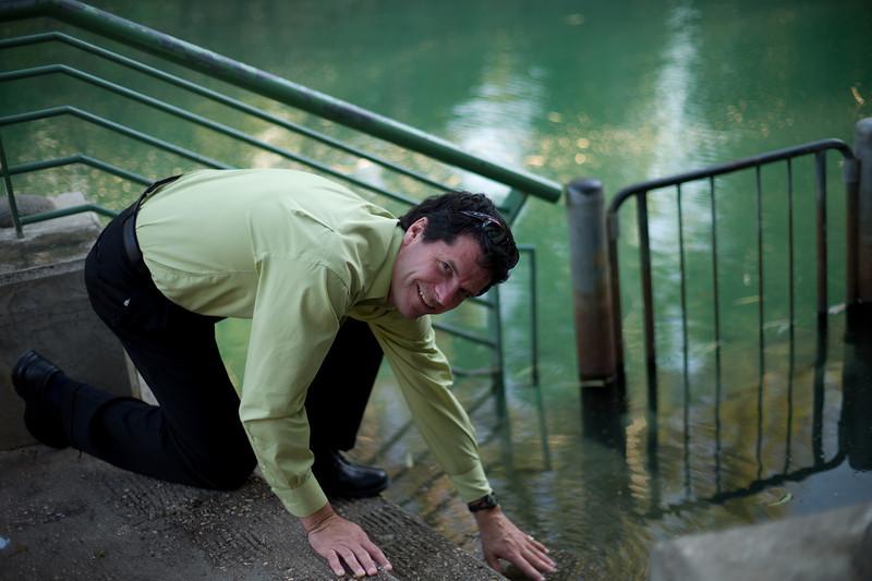 Steve Sletner, Red Flint Sand and Gravel, tempting the catfish in the channel of the River Jordan.