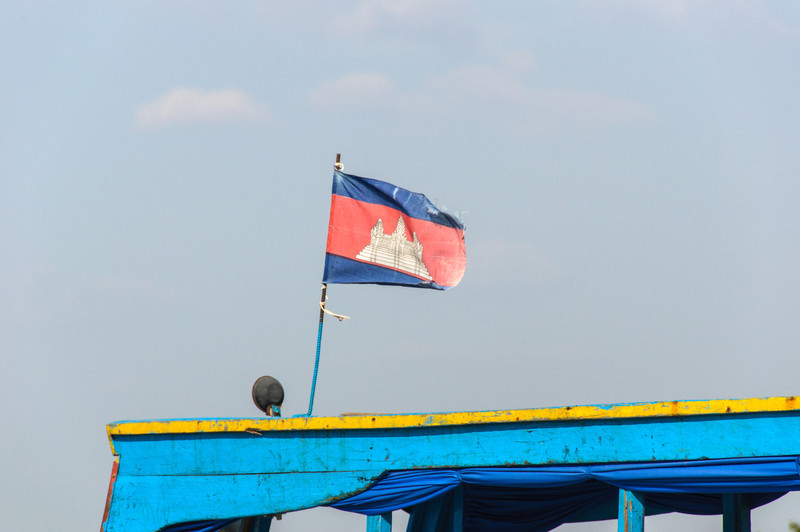 The Cambodian flag on a boat in Tonle Sap.