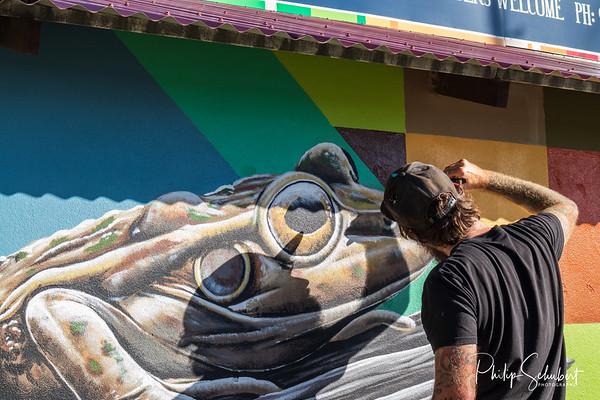NORANDA, AUSTRALIA - Aug 15, 2019: Talented urban artist Brenton See paints murals based uplon local wildlife on the exterior of the Noranda Sports Club.