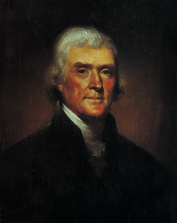. This is an undated photo of a 1800 portrait of Thomas Jefferson by artist Rembrandt Peale.  (AP Photo)
