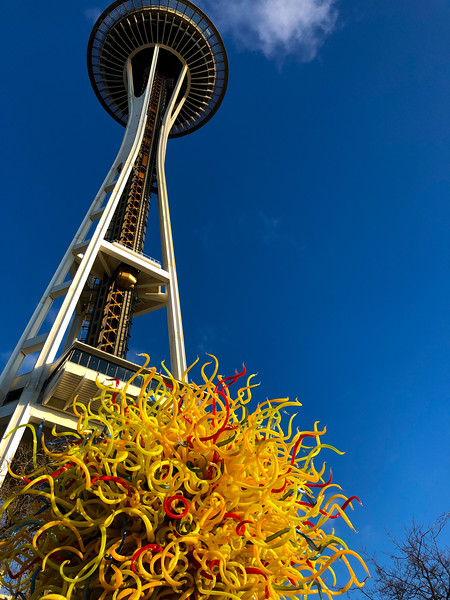 The Space Needle, as viewed from Chihuly Gardens and Glass (permanent exhibition at Seattle Center).
