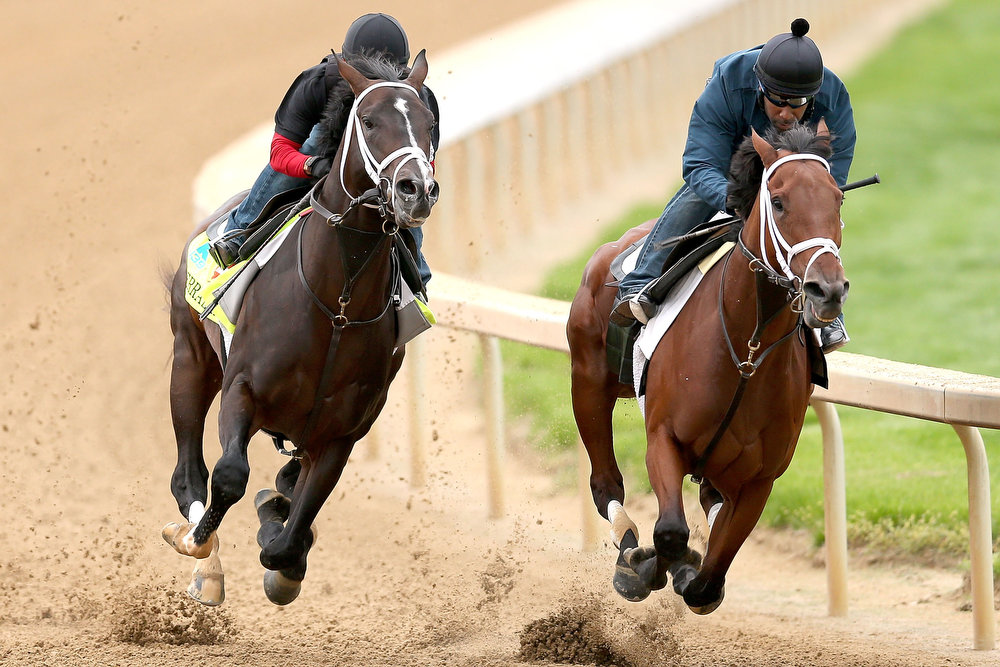 . Verranzano (left), ridden by Humberto Zamora, works alongside a workmate during the morning exercise session in preparation for the 139th Kentucky Derby at Churchill Downs on April 27, 2013 in Louisville, Kentucky. (Photo by Matthew Stockman/Getty Images)