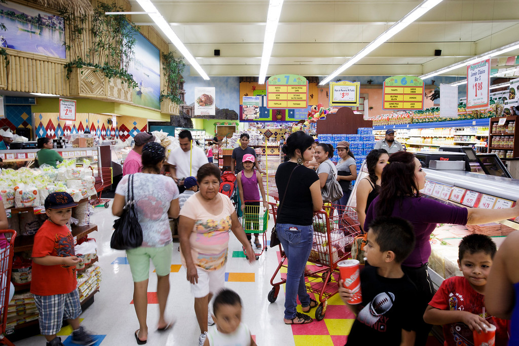 . Shoppers at Mi Pueblo Food Center in San Jose on July 24, 2013. The Bay Area supermarket chain filed for Chapter 11 bankruptcy protection Monday, citing a dispute with its primary lender, Wells Fargo. (Dai Sugano/Bay Area News Group)