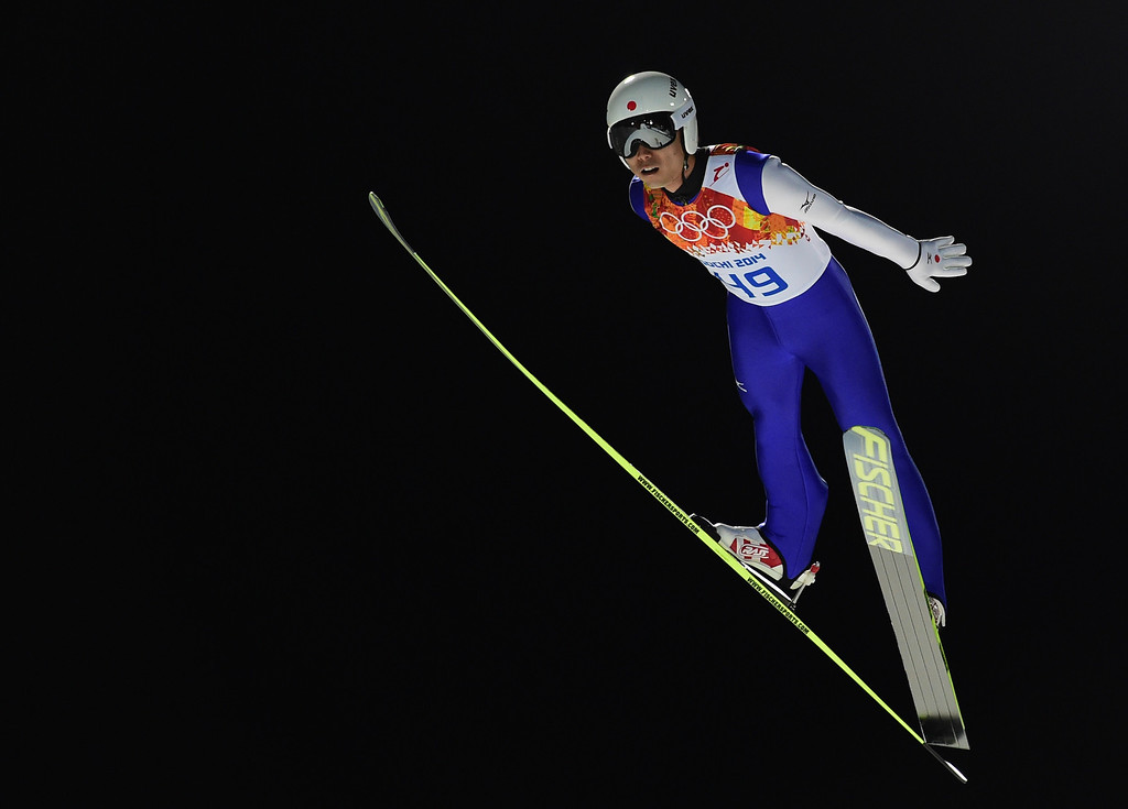 . Japan\'s Daiki Ito  competes during the trial jump of the Men\'s Ski Jumping Large Hill Individual qualification at the RusSki Gorki Jumping Center during the Sochi Winter Olympics on February 14, 2014 in Rosa Khutor near Sochi.  AFP PHOTO / JOHN MACDOUGALL/AFP/Getty Images