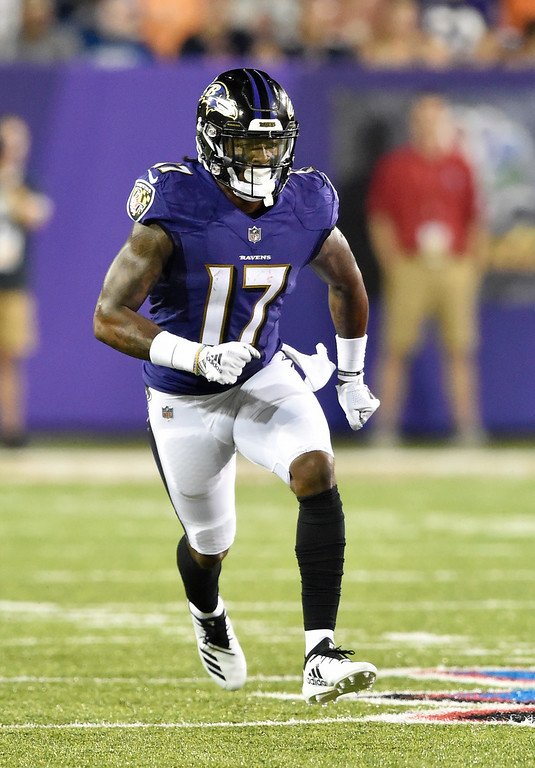 . Baltimore Ravens wide receiver Jordan Lasley (17) runs a route against the Chicago Bears in the first half at the Pro Football Hall of Fame NFL preseason game, Thursday, Aug. 2, 2018, in Canton, Ohio. (AP Photo/David Richard)