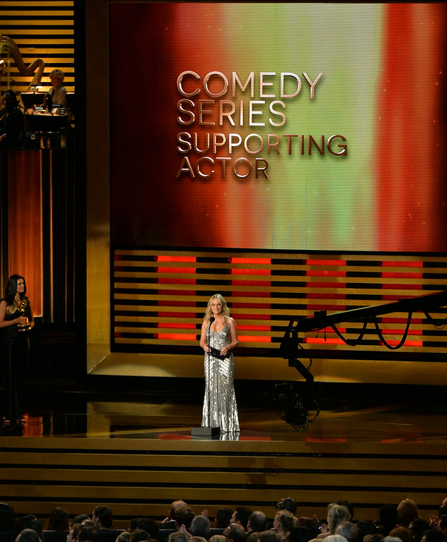 . Actress Amy Poehler speaks onstage at the 66th Annual Primetime Emmy Awards held at Nokia Theatre L.A. Live on August 25, 2014 in Los Angeles, California.  (Photo by Kevin Winter/Getty Images)