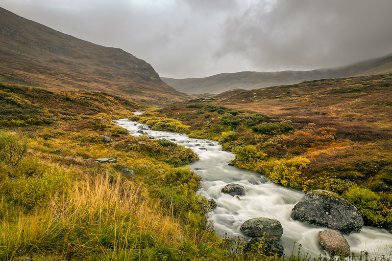 Creek in the Mountain pass over Sognefjellet, Norway