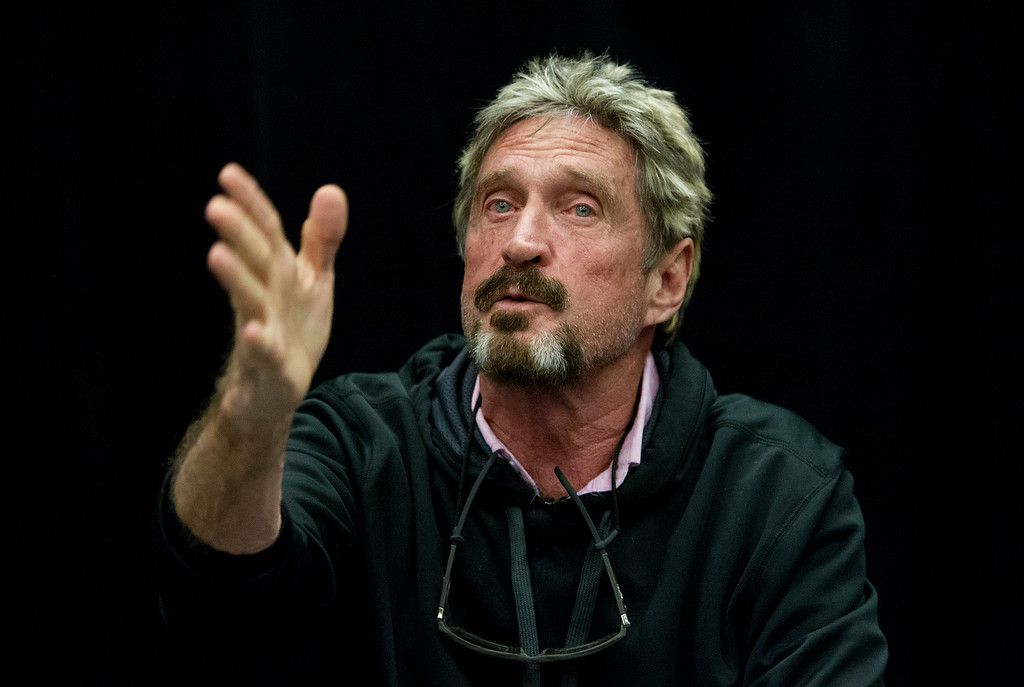 """. John McAfee speaks at the \""""Fireside Chat with John McAfee\"""" talk during the C2SV Technology Conference + Music Festival at the McEnery Convention Center in San Jose, Calif., on Saturday, Sept. 28, 2013.   (LiPo Ching/Bay Area News Group)"""
