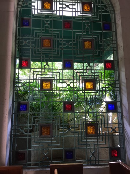 Stain glass in the chapel  National Memorial Cemetery of the Pacific at Punchbowl