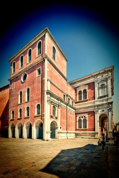 West façade of the Scuola Grande di San Rocco, overlooking Campo Castelforte, Venice, Italy