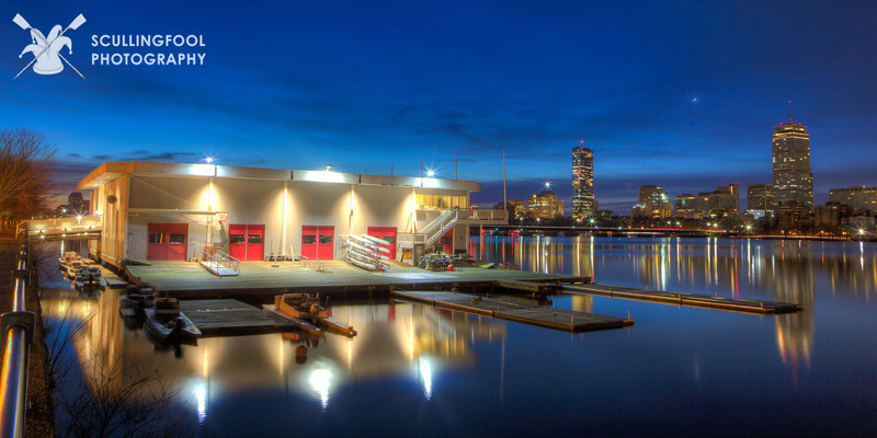Pierce Boathouse headlining, with backup from the Boston skyline and the Moon