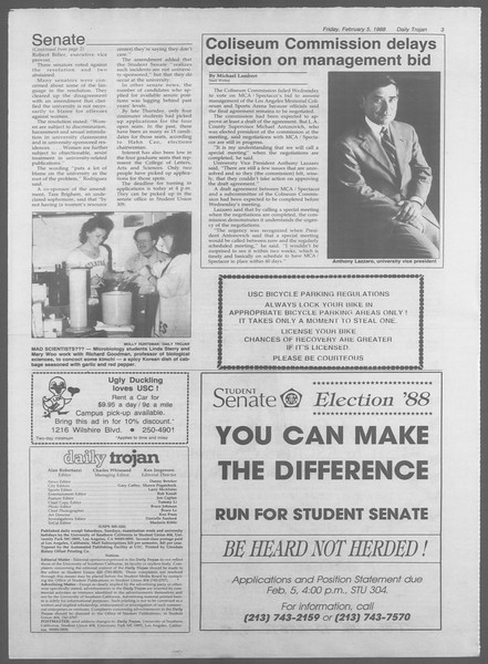 Daily Trojan, Vol. 106, No. 19, February 05, 1988