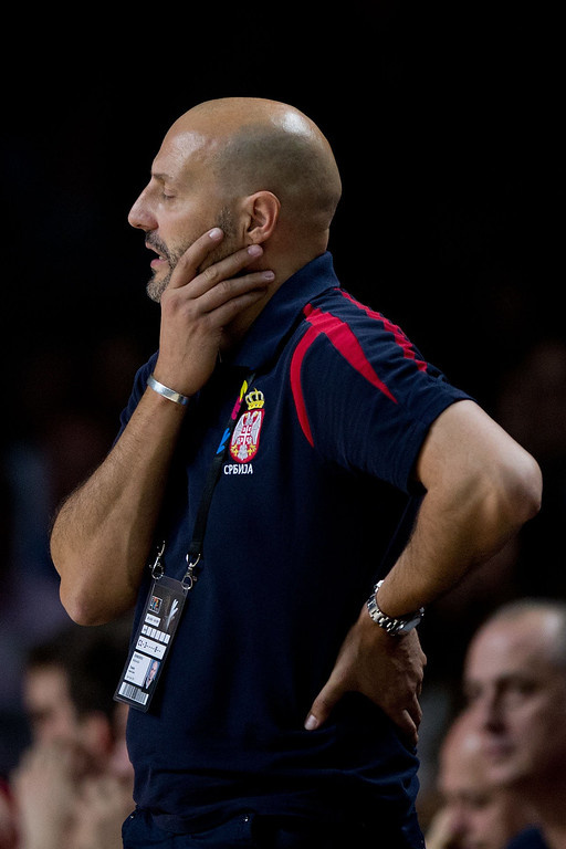 . Head coach Sasha Djordjevic of Serbia reacts defeated during the 2014 FIBA World Basketball Championship final match between USA and Serbia at Palacio de los Deportes on September 14, 2014 in Madrid, Spain. (Photo by Gonzalo Arroyo Moreno/Getty Images)