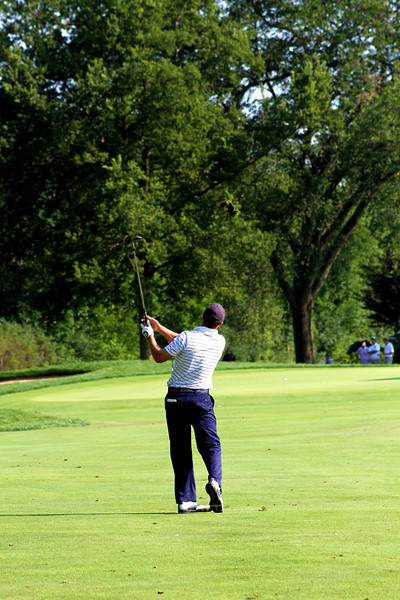 Round one co-leader Jordan Spieth, 18, of Dallas, Texas, approaches the 15th green in Wednesday's second round.