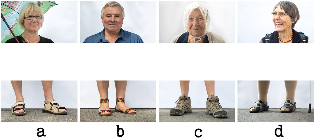 Shoe Quiz #4<br /> <br /> Can you guess the order of the letters for each person to recover their feet?<br /> <br /> I love asking people in the street for something weird. Asking people to take a photograph of their feet always creates surprise, which in the vast majority of the cases results in accepting the photo.