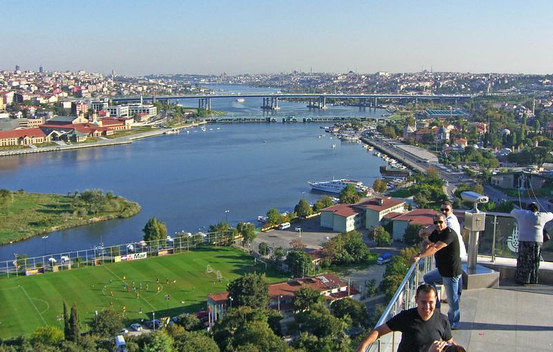 50-Fatih Bridge, looking east along Golden Horn from Muslim cemetery.