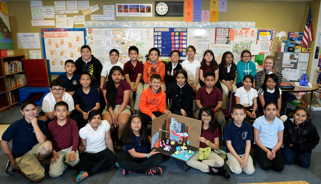 . 2nd place children\'s winner: Ms. Quinn Miller\'s 4th grade class at Lena Lovato Archuleta Elementary School in  Denver  with their Peeps second place creation  on Tuesday, April 8, 2014.  (Denver Post Photo by Cyrus McCrimmon)