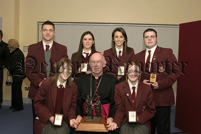 St Pauls High School Bessbrook Prize Giving, Archbishop Brady with Recipients of the Mary Mc Donald Award for Fundraising, Jason Pepper, Declan Byrne, Catherine Mallon, Briege Rice, Sinead Savage and Dervla Tummilty, 06W01N59