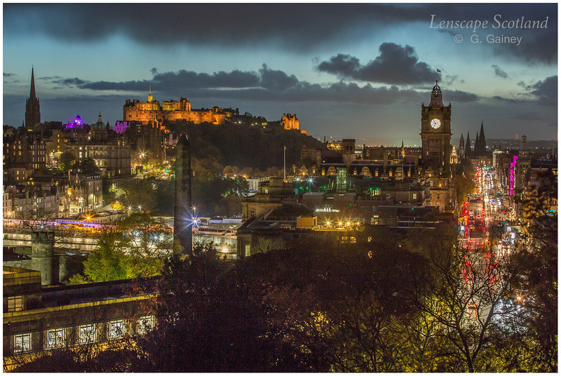 Edinburgh Castle and central Edinburgh from Calton Hill at dusk (02)