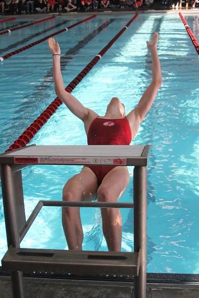 Preparing for 100 meter backstroke.