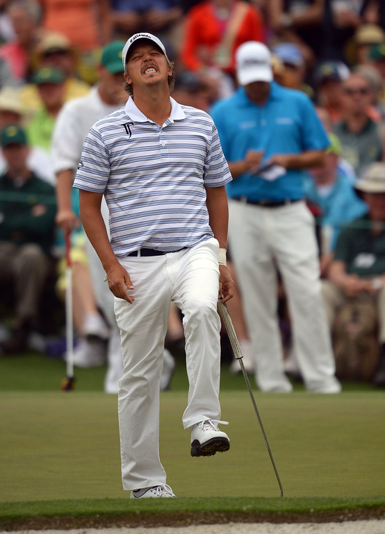 . Freddie Jacobson of Sweden reacts to missed putt during the fourth round of the 77th Masters golf tournament at Augusta National Golf Club on April 14, 2013 in Augusta, Georgia.  JIM WATSON/AFP/Getty Images
