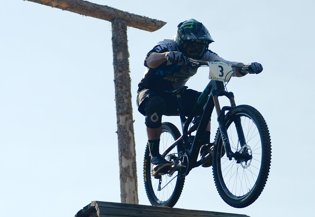. WINTER PARK, CO. - July 26: Jared Graves catches air after starting the first stage of First international Enduro World Cup Championship ever in U.S. at Winter Park, Colorado. July 26, 2013. (Photo By Hyoung Chang/The Denver Post)