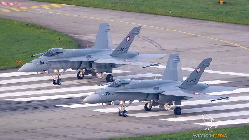 Swiss Air Force McDonnell Douglas F/A-18C Hornet J-5002 and J-5012