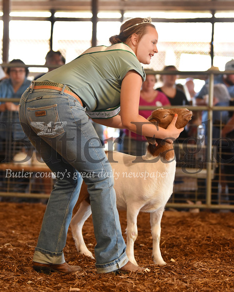 Harold Aughton/Butler Eagle: Megahn Thornton, 15, of Finelton poses her lamb during the 42nd Annual Harold Aughton/Butler Eagle: Meghan Thornton, 15, of Fenelton poses her lamb during the 42nd Annual Junior Livestock Market Sale at the Butler Farm Show.
