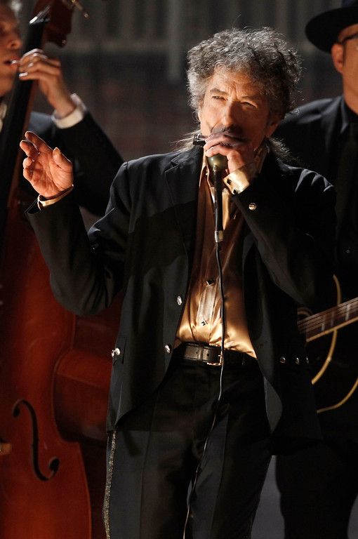. Bob Dylan performs at the 53rd annual Grammy Awards on Sunday, Feb. 13, 2011, in Los Angeles. (AP Photo/Matt Sayles)