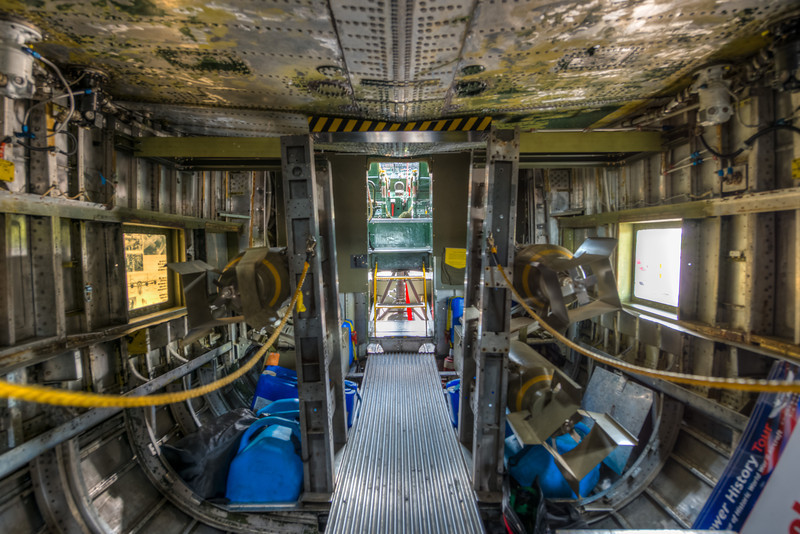 Looking towards the cockpit through the bomb bay.