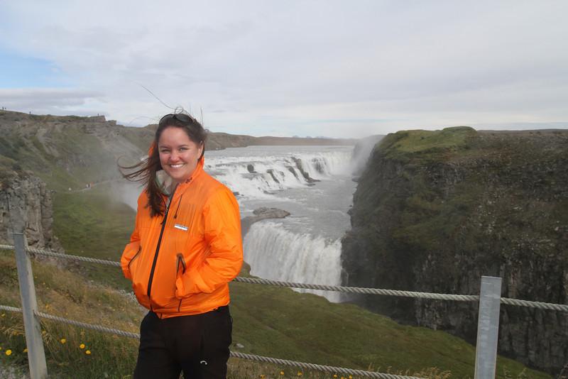 Brigitt in front of Goldfoss in Iceland