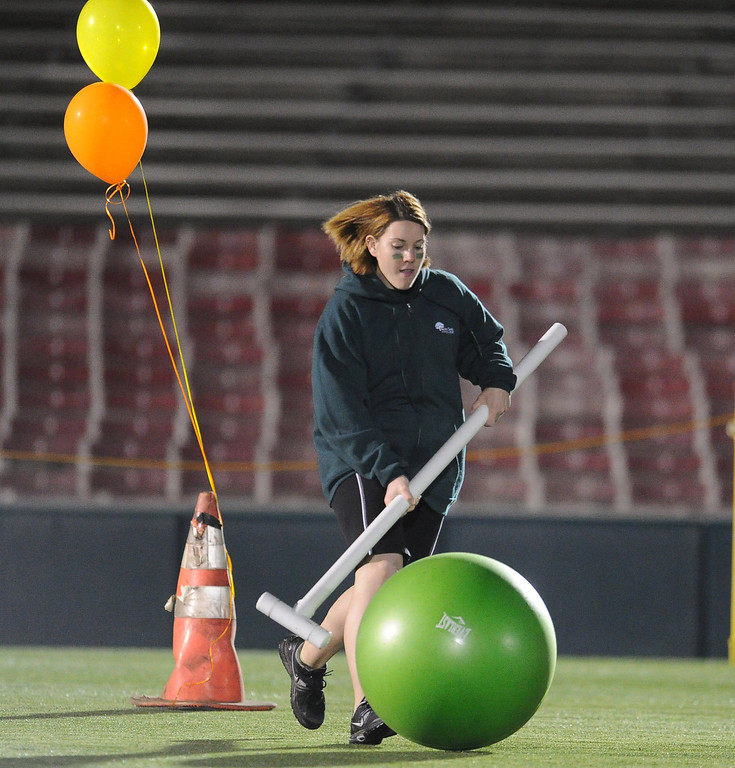 . Student Alaina Clutters of Pacific Oaks College & Children School during the giant croquet competition School during the the 2013 Collegiate Field Tournament at the Rose Bowl on Friday, April 5, 2013 in Pasadena, Calif.  (Keith Birmingham Pasadena Star-News)