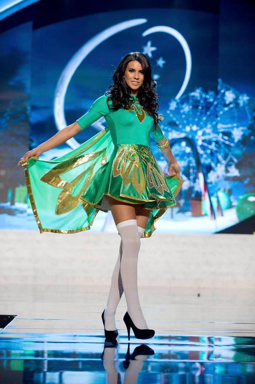 . Miss Ireland Adrienne Murphy performs onstage at the 2012 Miss Universe National Costume Show at PH Live in Las Vegas, Nevada December 14, 2012. The 89 Miss Universe Contestants will compete for the Diamond Nexus Crown on December 19, 2012. REUTERS/Darren Decker/Miss Universe Organization/Handout