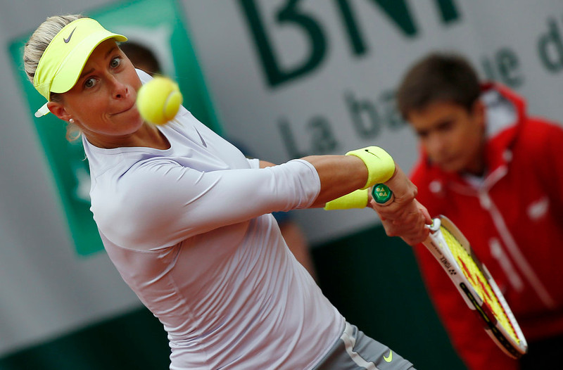 . Czech Republic\'s Andrea Hlavackova hits a backhand shot to France\'s Irena Pavlovic during a French tennis Open first round match on May 26, 2013 at the Roland Garros stadium in Paris. THOMAS COEX/AFP/Getty Images