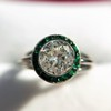 1.30ctw Old European Cut Diamond Emerald Target Ring 25