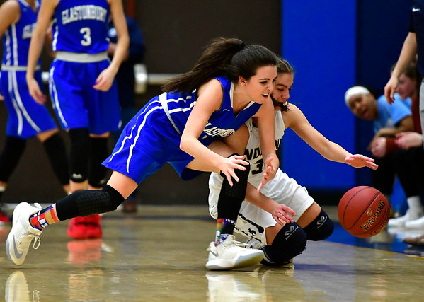 3/1/2019 Mike Orazzi | Staff Newington High School's Karissa Zocco (3) and Glastonbury Tomahawks' Jillian Margaglione (10) during the Class LL Second Round of the CIAC 2019 State Girls Basketball Tournament at Newington High School Friday night.