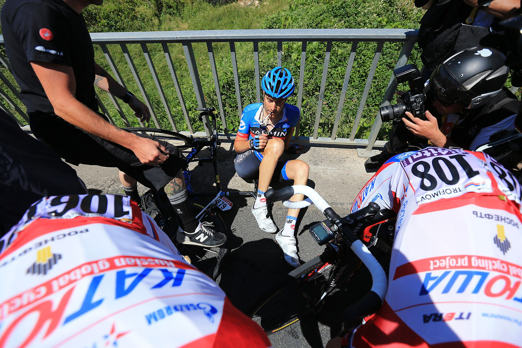 . MONTPELLIER, FRANCE - JULY 05:  Christian Vande Velde of the United States and Garmin-Sharp is attended to following a crash during stage seven of the 2013 Tour de France, a 205.5KM road stage from Montpellier to Albi, on July 5, 2013 in Montpellier, France.  (Photo by Doug Pensinger/Getty Images)
