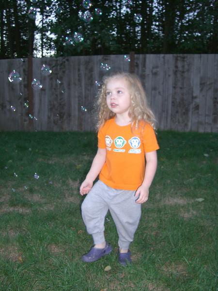 Walking through the bubbles.