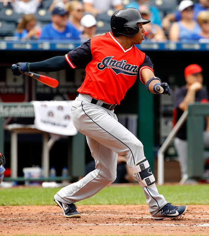 . Cleveland Indians\' Greg Allen hits a two-run double during the fourth inning of a baseball game against the Kansas City Royals Sunday, Aug. 26, 2018, in Kansas City, Mo. (AP Photo/Charlie Riedel)