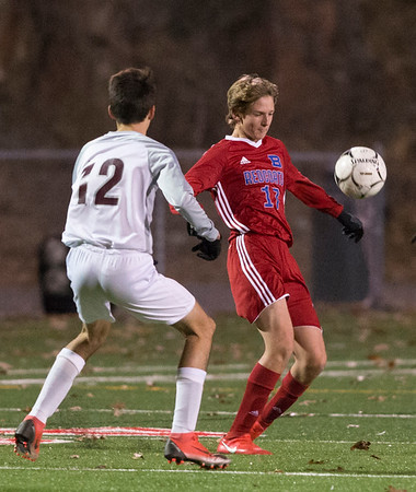 11/06/19 Wesley Bunnell | StaffrrBerlin boys soccer vs South Windsor on Wednesday evening at Sage Park. Mantas Malinauskas (17).