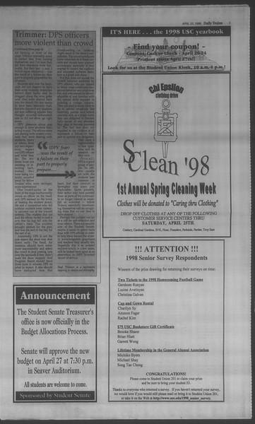 Daily Trojan, Vol. 133, No. 65, April 23, 1998