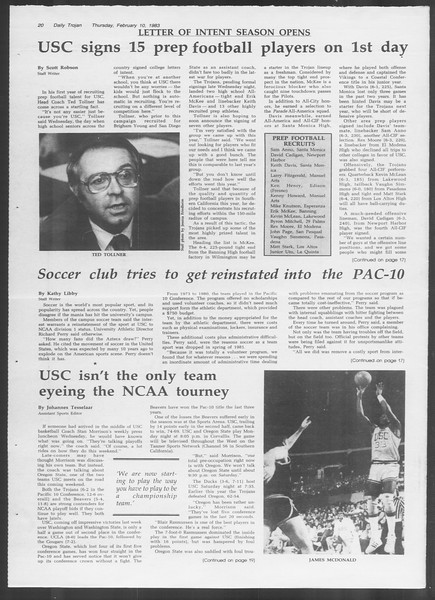 Daily Trojan, Vol. 93, No. 22, February 10, 1983