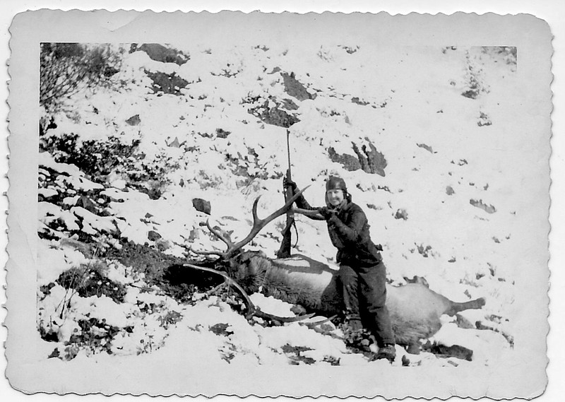 Sunshine Johnson Nesbitt with a great bull Elk.  Most likely killed in Idaho or Montana.