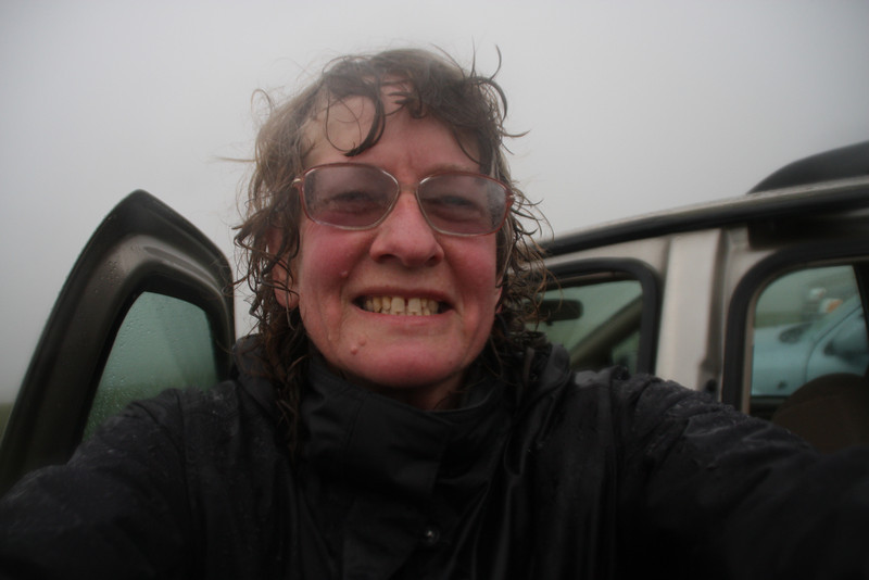 Back at the car. Soaking wet despite my hat and hood.