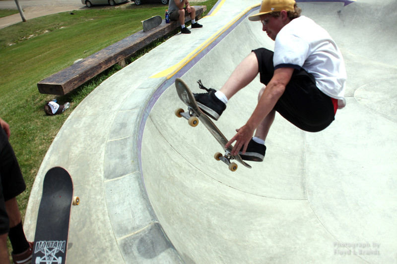 Havre Daily News/Floyd Brandt  Big Sandy Skate Jam to benefit the Big Sandy skate park Saturday. Built by a foundation started by former resident Jeff Ament. Skaters came from all over the state to jam in the park. Skater Thane Morin
