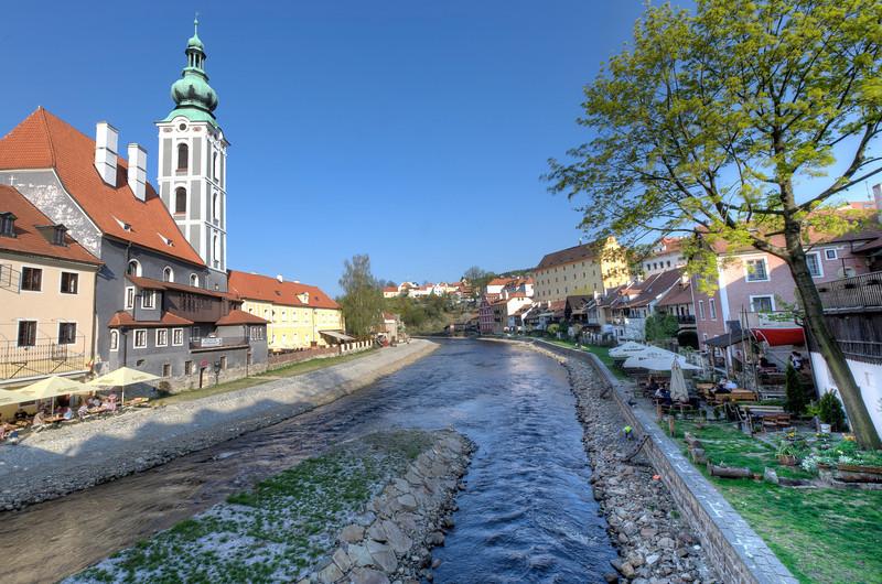 Creek and houses along the bank - Cesky Krumlov, Czech Republic