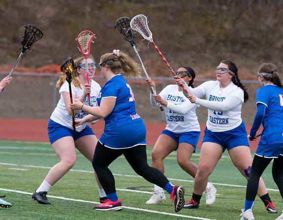 04/08/19 Wesley Bunnell | Staff Bristol Eastern girls lacrosse was defeated at home on Monday night. Leia Gagne (29), Amaya Nassari (12) and Hannah Richard (19) on defense.