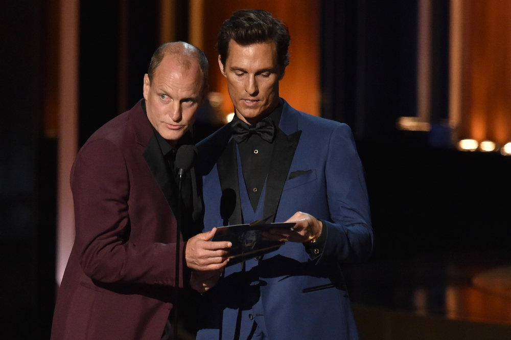 . Actors Woody Harrelson (L) and Matthew McConaughey speak onstage at the 66th Annual Primetime Emmy Awards held at Nokia Theatre L.A. Live on August 25, 2014 in Los Angeles, California.  (Photo by Kevin Winter/Getty Images)